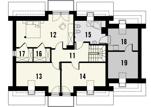 Projekt domu Pryzmat - rzut poddasza