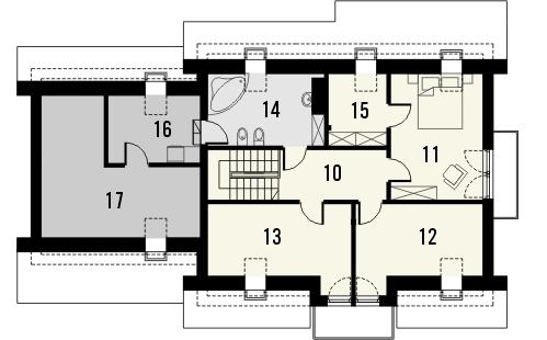 Projekt domu Komfort 2g - rzut poddasza
