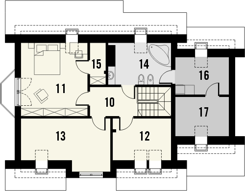 Projekt domu Frykas - rzut poddasza