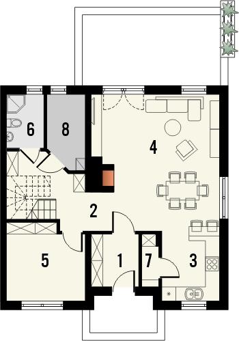 Projekt domu Kolia 2 - rzut parteru