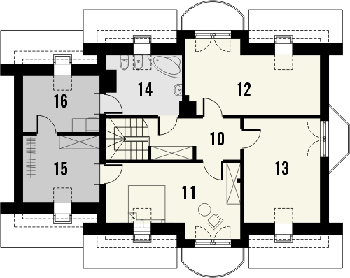 Projekt domu Sosna - rzut poddasza