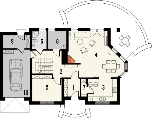 Projekt domu Magnolia - rzut parteru