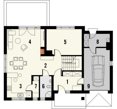 Projekt domu Wierzba - rzut parteru
