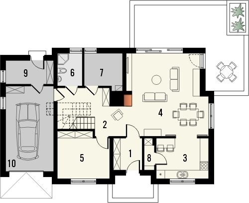 Projekt domu Kasztan - rzut parteru
