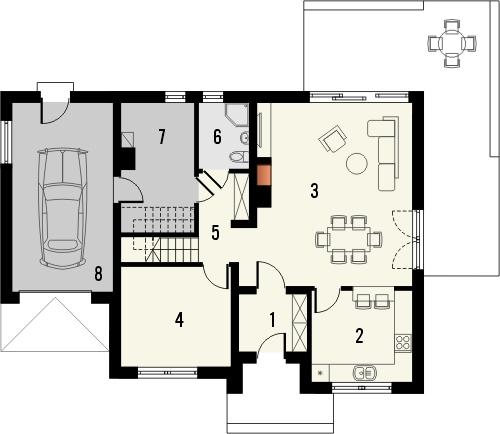 Projekt domu Lawenda - rzut parteru