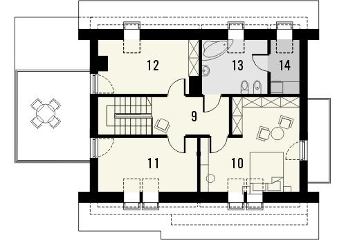 Projekt domu Lawenda - rzut poddasza