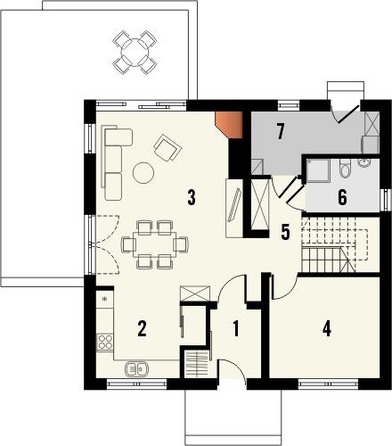 Projekt domu Tabasco 2 - rzut parteru