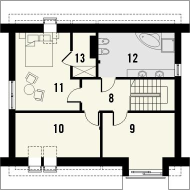 Projekt domu Tabasco 2 - rzut poddasza