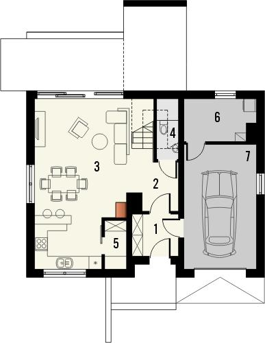 Projekt domu Lotos - rzut parteru
