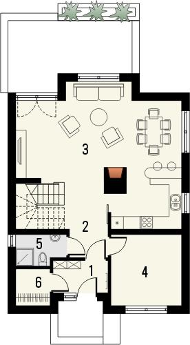 Projekt domu Bielinek 2 - rzut parteru