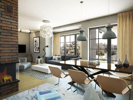 Projekt domu Portis - wnętrze salonu domu Portis