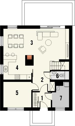 Projekt domu Joga - rzut parteru