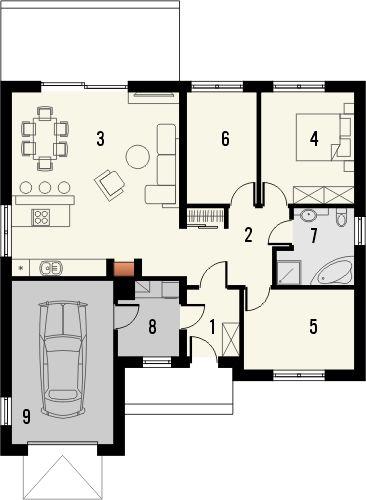 Projekt domu Hibiskus - rzut parteru