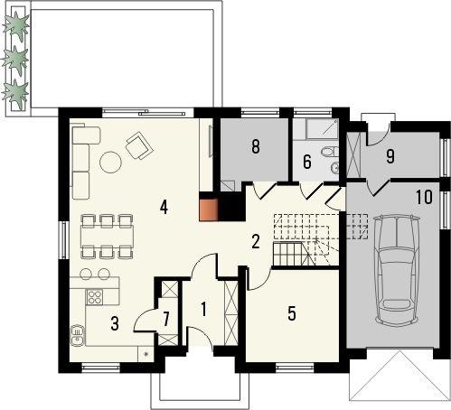 Projekt domu Kiwi - rzut parteru