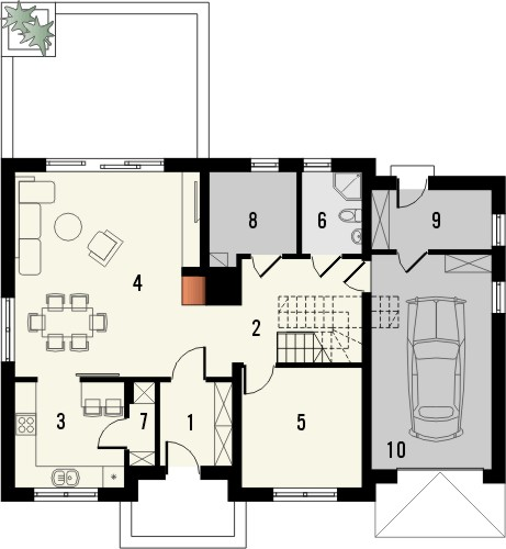 Projekt domu Wanilia - rzut parteru