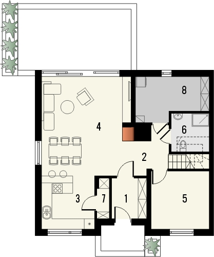 Projekt domu Aviator 3 - rzut parteru