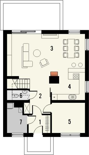 Projekt domu Pionier 2 - rzut parteru
