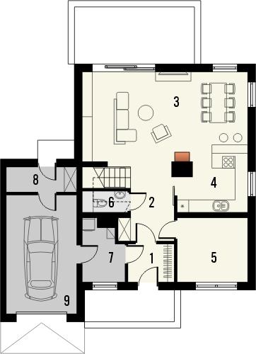 Projekt domu Pionier 3 - rzut parteru