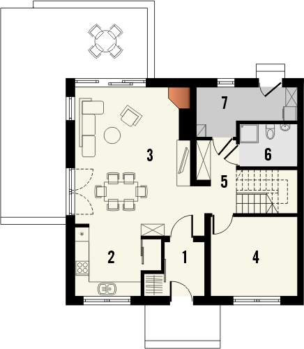Projekt domu Tabasco 3 - rzut parteru