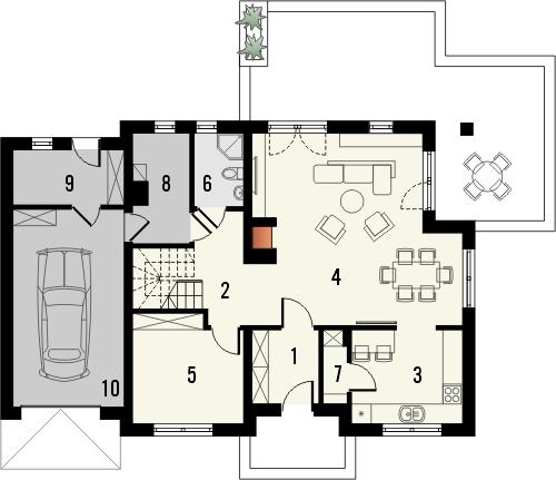 Projekt domu Pryzmat 2 - rzut parteru