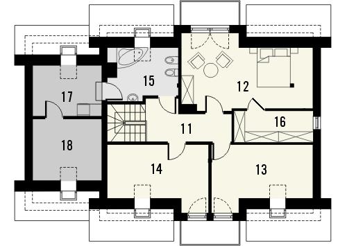 Projekt domu Pryzmat 2 - rzut poddasza