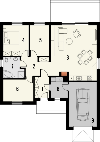 Projekt domu Juka - rzut parteru