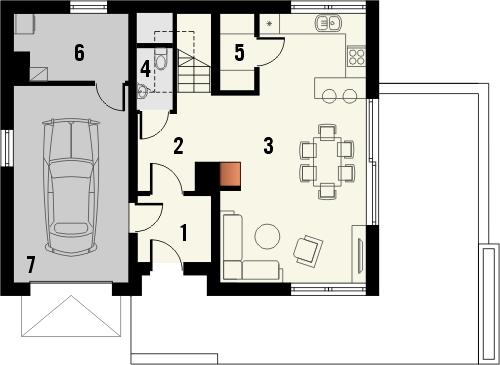 Projekt domu Muno - rzut parteru