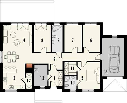 Projekt domu Danta - rzut parteru