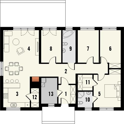Projekt domu Danta 2 - rzut parteru