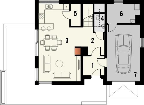Projekt domu Asana - rzut parteru
