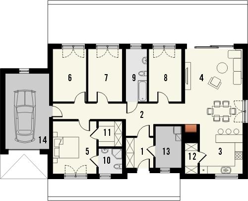Projekt domu Avatar - rzut parteru