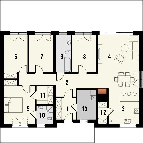 Projekt domu Avatar 2 - rzut parteru