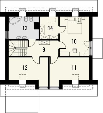 Projekt domu Tetris - rzut poddasza