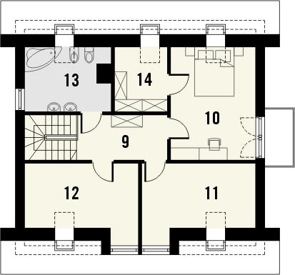Projekt domu Tetris 2 - rzut poddasza