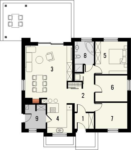 Projekt domu Aloes - rzut parteru