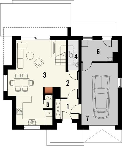 Projekt domu Iskra 3 - rzut parteru