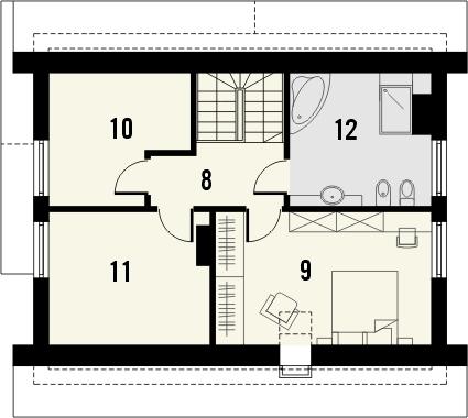 Projekt domu Iskra 3 - rzut poddasza