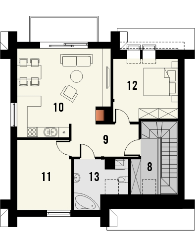 Projekt domu Riva - rzut poddasza