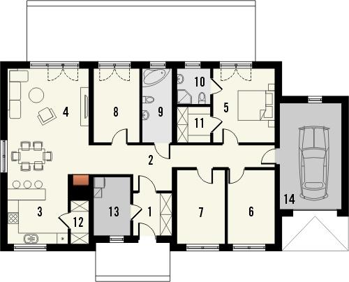 Projekt domu Nino - rzut parteru