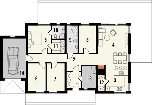 Projekt domu Velvet - rzut parteru