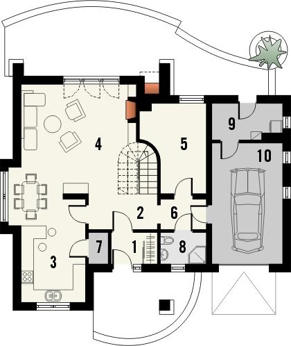 Projekt domu Alabaster - rzut parteru