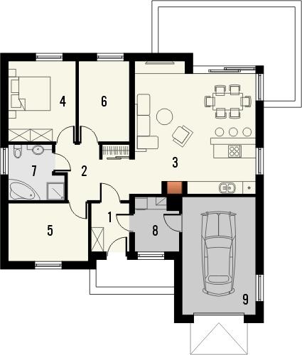 Projekt domu Andrea - rzut parteru