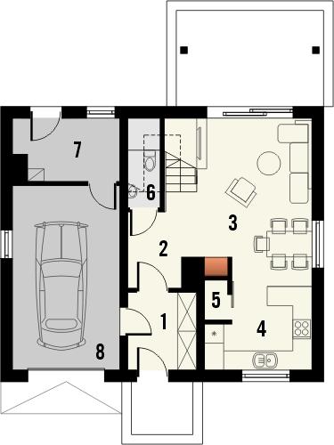 Projekt domu Majówka - rzut parteru