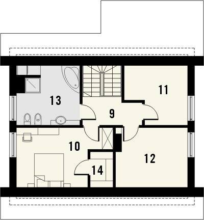 Projekt domu Majówka - rzut poddasza