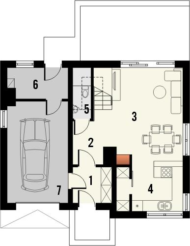 Projekt domu Borowik - rzut parteru