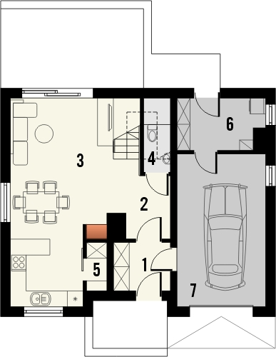 Projekt domu Alvin - rzut parteru