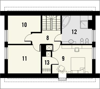 Projekt domu Alvin - rzut poddasza