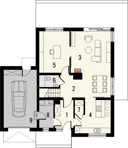 Projekt domu Avanti - rzut parteru