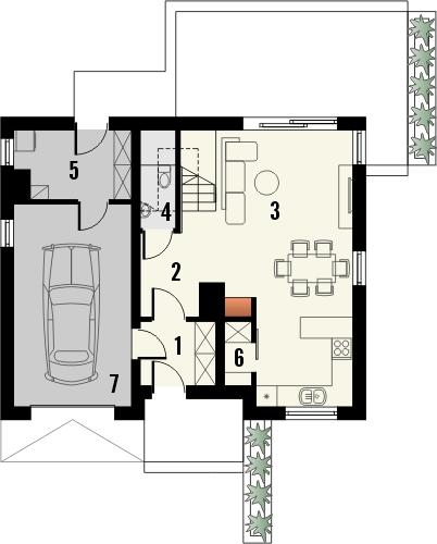 Projekt domu Como - rzut parteru
