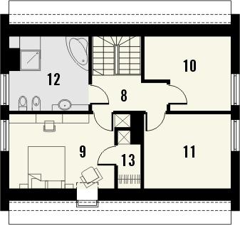 Projekt domu Como - rzut poddasza